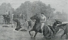 1890 Large Antique Engraving - Horses & Guards Swimming the Thames in Berkshire
