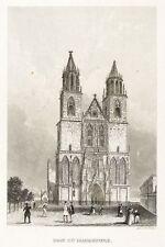 MAGDEBURG - DOM - WESTFASSADE - Panorama des Universums - Stahlstich 1841
