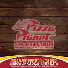 Large Pizza Planet Delivery Shuttle Logo on Clear (Toy Story) Decal/Sticker