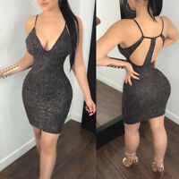 Women's Sleeveless Strap Bodycon Bandage Backless Club Evening Party Mini Dress
