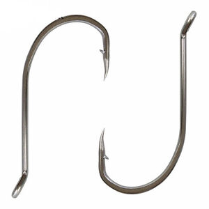 92554 Stainless Steel Fishing Hook White Offset Long Shank Octopus Fishing Hook