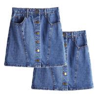 Womens High Waist Buttons Casual A-Line Short Denim Dress Skirt Mini Jeans 4-10