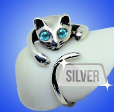 NEW 925 SOLID STERLING SILVER Adorable Cat Ring- BLUE Crystal Eyes– Adjustable