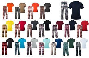 NEW Men's CHECK Print Pyjama Set Lounge Wear Short Sleeve T Shirt Top Night Wear