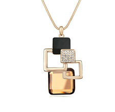 18K GOLD GP Made With SWAROVSKI Elements CRYSTAL Layered Square NECKLACE
