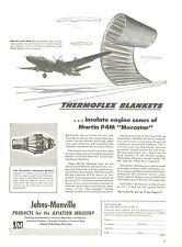 1950 Johns Manville Thermoflex Blankets Ad Martin P4M Mercator Airplane Aviation