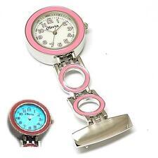 El Olivia Colección Dial Blanco Rosa cadenas de eslabones enfermeras fob Reloj Con Luz De Fondo