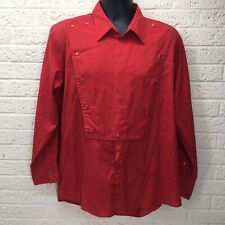 Vtg‼ Cattleman Ely Red Western Chef Jacket Shirt Long Sleeve Button Xl • Guc‼