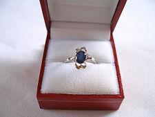 1.05 Ct. Sapphire Solitaire & Diamond  10k White Gold Ring