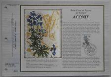 Feuillet CEF 679 Soie 1er jour 1983 Aconit des Pyrénées Flore de Fr