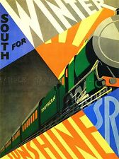 TRAVEL TRANSPORT SOUTH WINTER SUNSHINE TRAIN RAIL ENGINE SUN UK POSTER LV4454