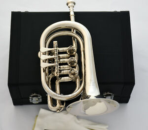Professional Silver nickel Rotary Valve Cornet JINBAO Bb Horn Leather case