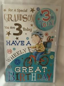 grandson 3rd birthday card / Grandsons 3rd Birthday Card With Badge