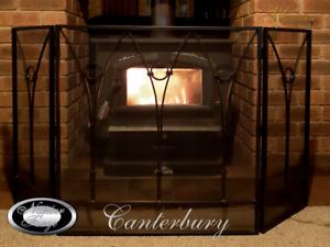 FIRE SCREEN / EMBER GUARD SHIELD / FIRESCREEN / WROUGHT IRON 3 PANEL(Canterbury)