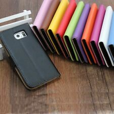 Real Genuine Leather Phone Case Wallet Flip Cover For Samsung Galaxy Series