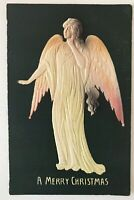 Beautiful~Embossed Airbrushed Angel~Antique 1908 Christmas Postcard--a-18
