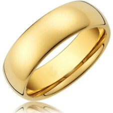 8MM Gold Plated Dome Glory Tungsten Ring for Men   Women Wedding Engagement Band