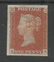 SG8 1841 1d RED BROWN (KB) ON  BLUED PAPER VERY FRESH MINT CAT £600 MINIMUM
