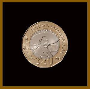 Mexico 20 Pesos Coin, 2021 Bimetallic 100th Death of Zapata Commemorative Unc