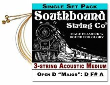 Cigar Box Guitar String Set: 3-string Acoustic Medium Open D - D F# A - 34-02-01