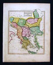 c. 1824 Ewing Antique Atlas Map  Turkey in Europe Greece Rumania Bulgaria Athens