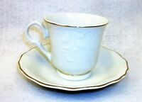 Gibson Golden Legacy China White Scalloped Gold Trimmed Coffee Cup & Saucer Set