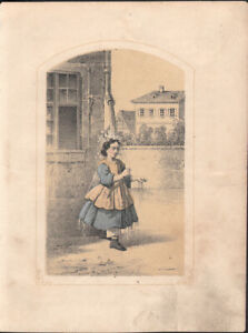 GIRL WITH A DOLL * 5x COLOURED SMALL LITHOGRAPHS from 1850ies