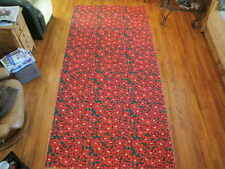 Vtg Christmas Poinsettia Fabric Cloth Tablecloth 52x108 Excellent Condition Yc39