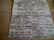 62-9 ephemera 1931 margate advert dreamland cinema roasting a whole sheep