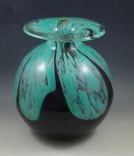 bohemia CHRIBSKA GLASS HOSPODKA LARGE GLASS VASE TURQUOISE BLACK LABEL