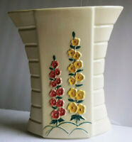Vintage Abingdon Pottery USA South Dakota-1947-'48 -#496 Painted Hollyhock Vase