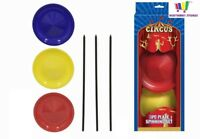 3 PLATE SPINNING SET BALANCING JUGGLING MAGIC CIRCUS TRICK SKILL GAME TOY KIDS