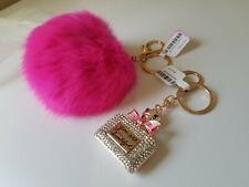 Fuchsia Fur PomPom Key & Crystal Rhinestone Mini Perfume Bttl. KeyChain KeyRing
