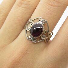 Vtg 925 Sterling Silver Real Amethyst Gemstone  Unique Design Ring Size 7