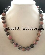"""rhodonite pink 14mm round necklace 17"""" nature wholesale beads gift fashion"""