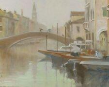 "NEW ORIGINAL MICHAEL RICHARDSON ""Chioggia in the Rain"" Venice Italy OIL PAINTING"