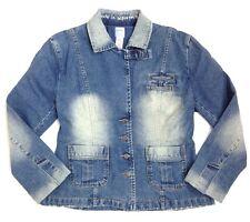 Sass & Bide 46 US 10 Distressed Denim Jean Jacket Blazer Beauty in Imperfection