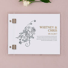 Clear Acrylic Antique Chic Gold Etching Personalized Wedding Guest Book