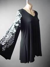 Black Henna Floral Design Flared Sleeve Plus Top Blouse 236 mv Tunic 1XL 2XL 3XL