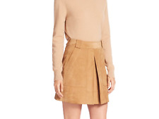 VINCE Suede Inverted Pleat Mini Skirt in Tan, NWT, sz.6 orig$595 , sold out