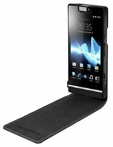 Sony Premium Leather Magnetic Flip Case Cover by Roxfit For Sony Xperia S Black