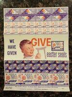 1957 Easter Seals Stamp Sheet Society for Crippled Children (CLEAN SHEET)