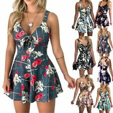 Womens Summer Beach Floral Jumpsuit Ladies Holiday Playsuit Rompers Mini Shorts