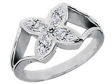 0.60 Carat Victoria Marquise Diamonds Flower Ring with Split Band