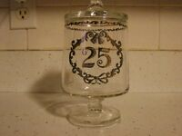"""Fenton  Glass 25th Silver Anniversary Candy Jar  Container    6"""" Tall  Mint"""