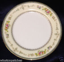 "MEITO CHINA V2144 BREAD & BUTTER PLATE 6 1/2"" BLUE & YELLOW BORDER FLORAL SPRAYS"