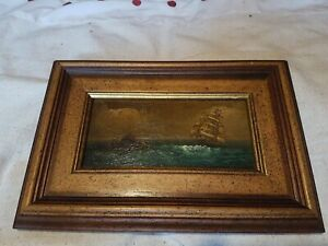 Antique Old Oil Painting, Ship, Signed