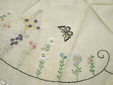 "Vintage 20s Round Tablecloth Embroidered Butterflies Vgc 31"" Table Topper Lace"
