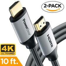 PowerBear HDMI Cable 10Ft 10 Feet 10' Ultra-HD (UHD) 4K HDMI 2.0 Cable (2 Pack)