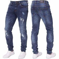 NEU Enzo Herren Stretch Super Skinny Ripped Freizeit Mode Denim Jeans